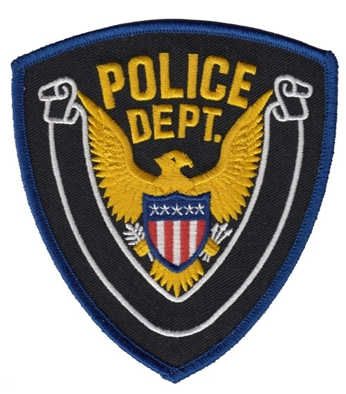 "POLICE DEPT, Eagle w/Blank Scroll, Medium Gold Border on Midnight Twill, Gold Border/Midnight,4x4-3/8"""