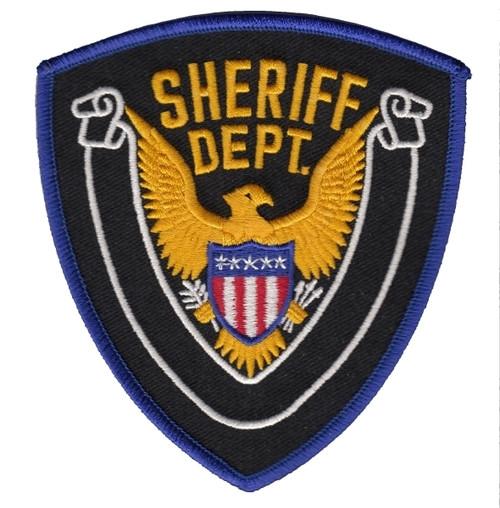 """SHERIFF DEPT, Eagle w/Blank Scroll, Royal Border on Black Twill, Royal Border/Black, 4x4-3/8"""""""