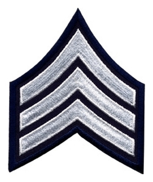 """SGT Chevrons, White/Navy, 3"""" Wide"""