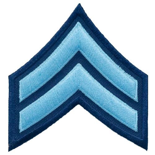 "CPL Chevrons, Lt Blue/Navy, 3"" Wide"