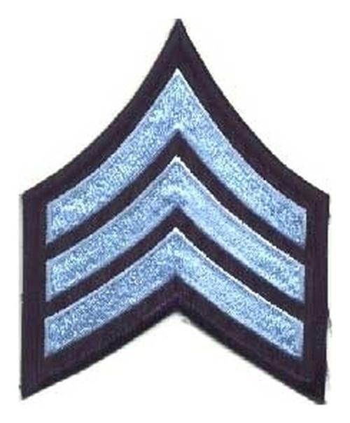 "SGT Chevrons, Lt Blue/Navy, 3"" Wide"