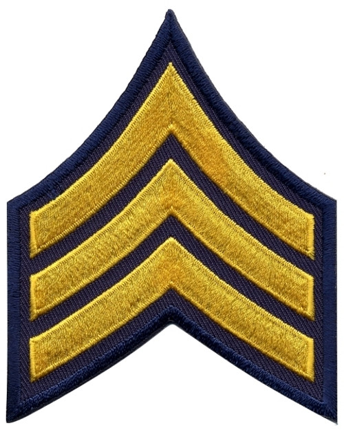 "SGT Chevrons, Medium Gold/Navy, 3"" Wide"