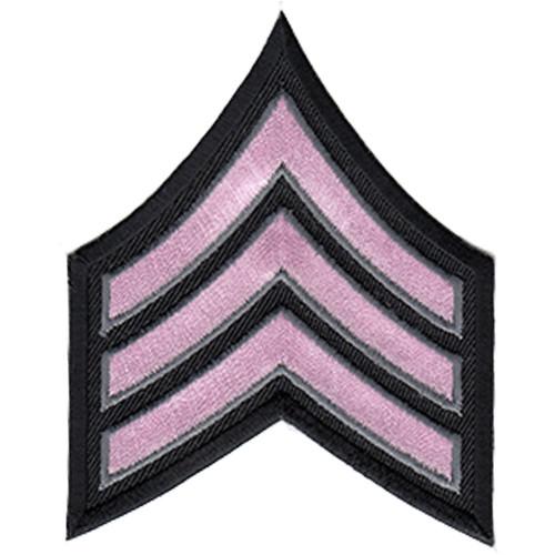 "Pink Line - SGT Chevrons, Light Pink/Grey on black, 3"" Wide"