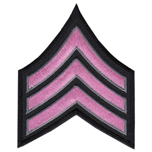 "Pink Line - SGT Chevrons, Pink/Grey on black, 3"" Wide"