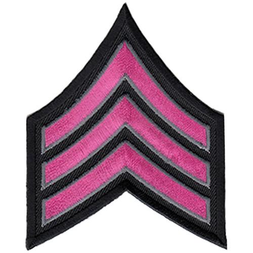 "Pink Line - SGT Chevrons, Dark Pink/Grey on black, 3"" Wide"