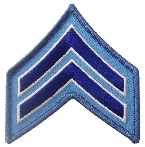 "CPL Chevrons, Merrowed Border  (Chicago PD), Royal-White/Lt Blue, 3"" Wide"