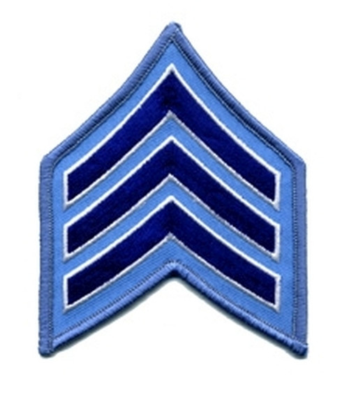 "SGT Chevrons, Merrowed Border  (Chicago PD), Royal-White/Lt Blue, 3"" Wide"