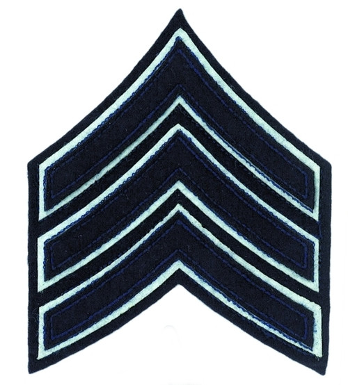 "SGT Chevrons, (Chicago PD), Navy/White FELT, 3-1/2"""