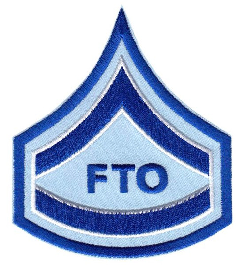 "CPD FTO Chevron, Royal/White edged on Lt Blue twill - 3-1/8 x 3-1/2"""