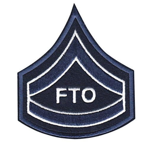 """CPD FTO Chevron, Navy/White edged on Dk Navy Felt- 3-1/8 x 3-1/2"""""""