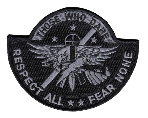 """THOSE WHO DARE Shoulder Patch, Silver/Black, 5x4"""""""