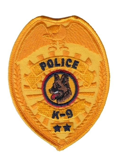 """POLICE K9 Badge Patch, Gold, 2-1/2x3-1/2"""""""