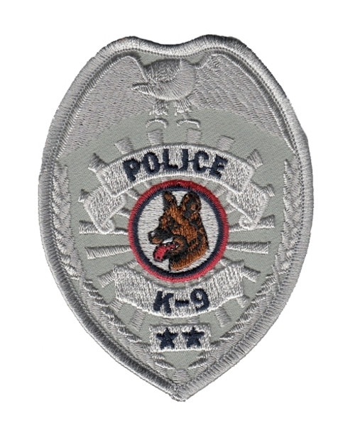 """POLICE K9 Badge Patch, Silver, 2-1/2x3-1/2"""""""