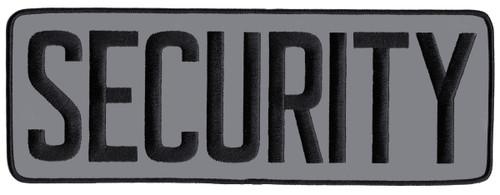 "SECURITY Back Patch, Reflective, Black/Reflective Grey, 11x4"""