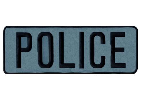 """POLICE Back Patch, Reflective, Black/Reflective Grey, 11x4"""""""