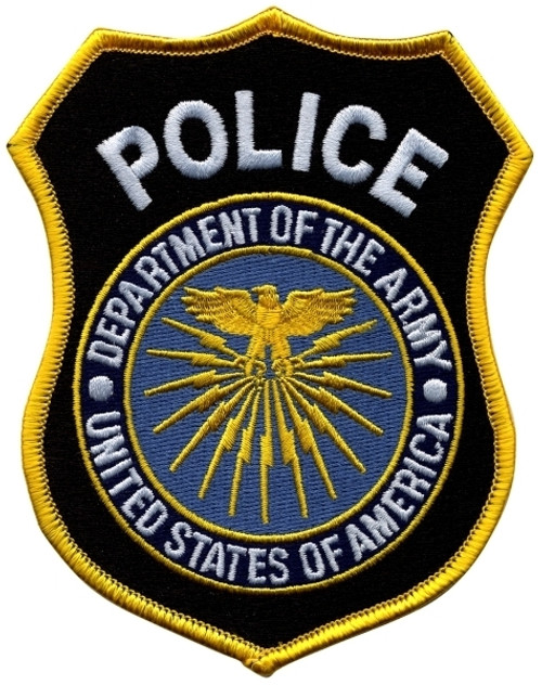 """POLICE DEPT. OF DEFENSE Shoulder Patch, 100% Embroidered, 3-3/4x4-5/8"""""""