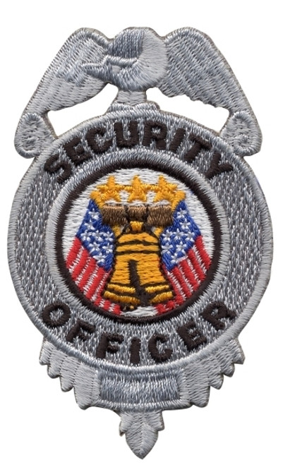 """SECURITY OFFICER Badge Patch, Silver/Black, 2x3"""""""