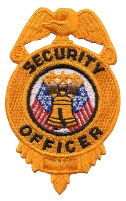 """SECURITY OFFICER Badge Patch, Gold/Black, 2x3"""""""