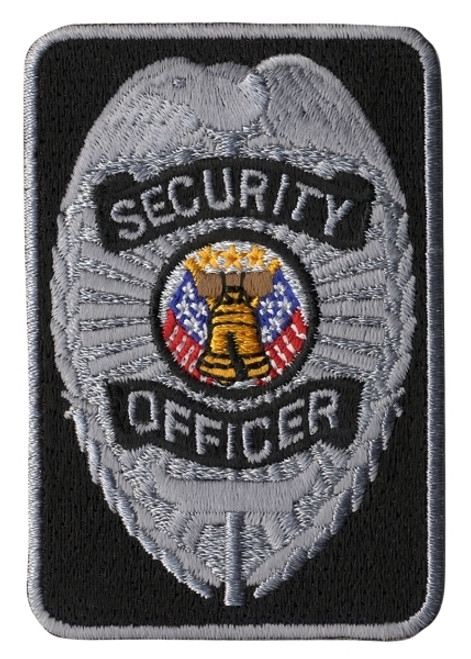 """SECURITY OFFICER Patch, Silver/Black, 2x3"""""""