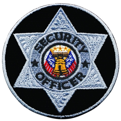 """SECURITY OFFICER Badge Patch, Silver/Black, 3"""" Circle"""