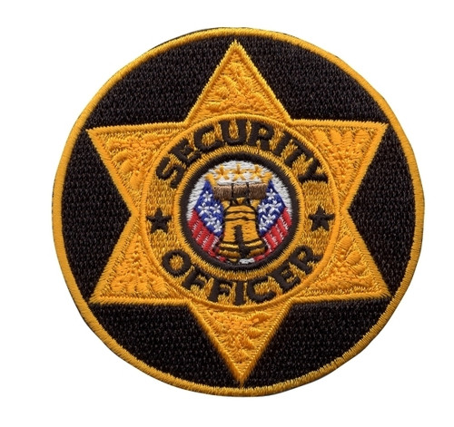 """SECURITY OFFICER Badge Patch, Gold/Black, 3"""" Circle"""