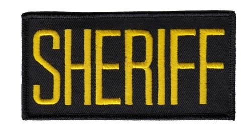 "SHERIFF Chest Patch, Medium Gold/Black, 4x2"""
