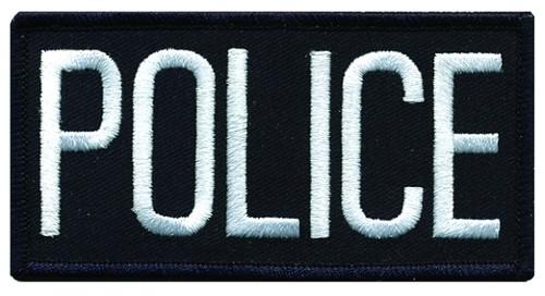 "POLICE Chest Patch, White/Midnight Navy, 4x2"""