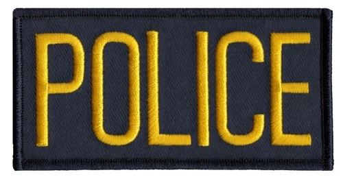 "POLICE Chest Patch, Medium Gold/Midnight, 4x2"""