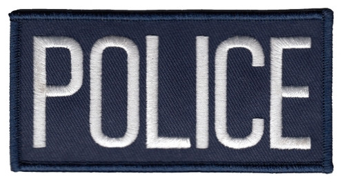 """POLICE Chest Patch, White/Navy, 4x2"""""""