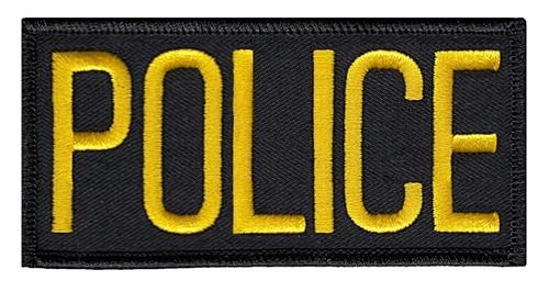 "POLICE Chest Patch, Medium Gold/Blackt, 4x2"""