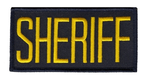 "SHERIFF Chest Patch, Medium Gold/Midnight, 4x2"""