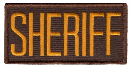 "SHERIFF Chest Patch, Dark Gold/Brown, 4x2"""