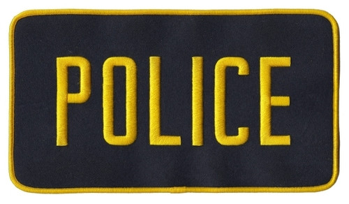 """POLICE Back Patch, Med Gold/Midnight, 9x5"""""""