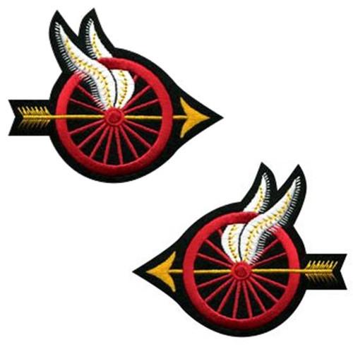 """Wheel w/Wings Shoulder Patch, Arrow Points, 4x3-1/2"""""""