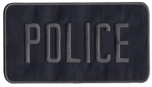"POLICE Back Patch, Grey/Midnight Navy, 9x5"""
