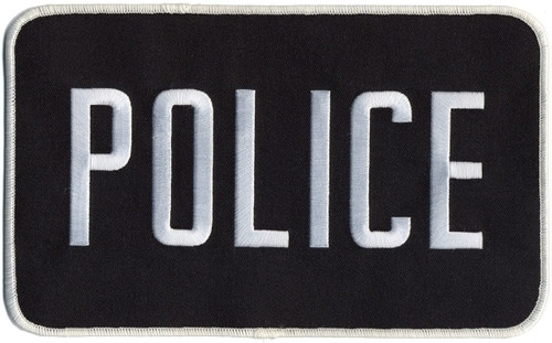"POLICE Back Patch, White/Black, 9x5"""