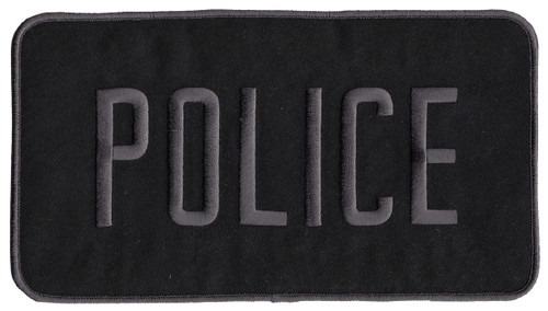 """POLICE Back Patch, Grey/Black, 9x5"""""""
