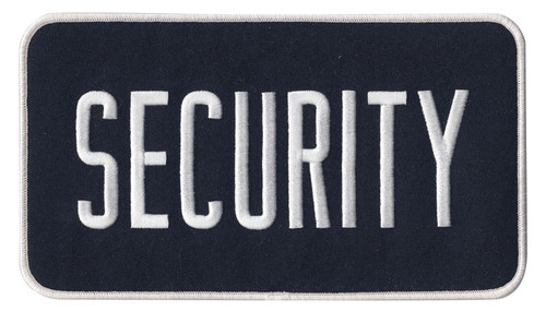 """SECURITY Back Patch, White/Midnight Navy, 9x5"""""""