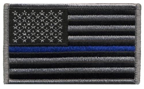 "U.S. Flag Patch, Blue Stripe, Grey/Blue/Black, 3-3/8x2"""