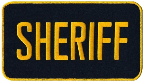 "SHERIFF Back Patch, Medium Gold/Midnight, 9x5"""
