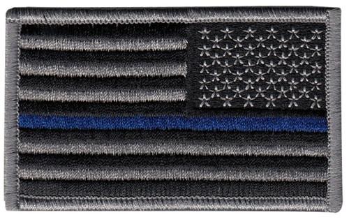 "U.S. Flag Patch, Blue Stripe, Reverse, Hook, Grey/Blue/Black, 3-3/8x2"""