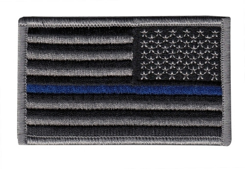 "U.S. Flag Patch, Blue Stripe, Reverse, Grey/Blue/Black, 3-3/8x2"""