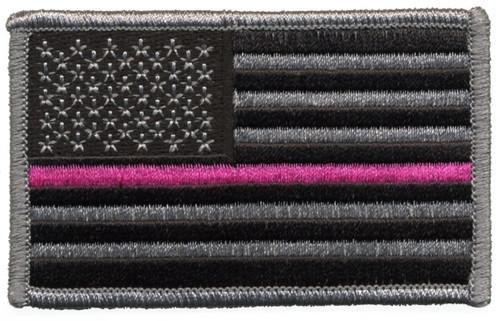 "U.S. FLAG w/Pink Stripe Patch, Hook, Grey/Black/Pink, 3-3/8x2"""