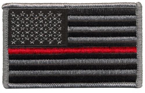 "U.S. Flag Patch, Red Stripe, Grey/Black/Red, 3-3/8x2"""