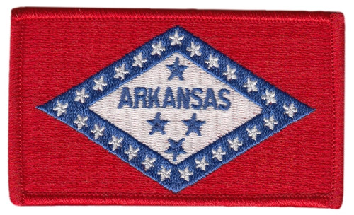 """Arkansas State Flag Patch, 3-3/8x2"""""""