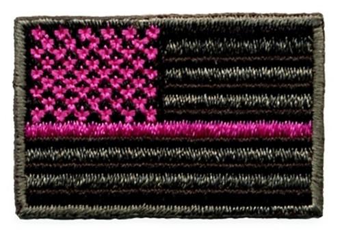 """U.S. FLAG w/Pink Stripe Patch, Grey/Black,1-1/2x1"""""""