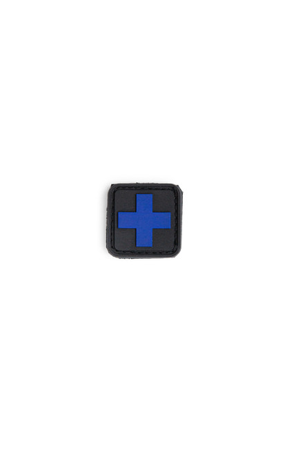 Medic Square Patch - PVC - Blue Cross on Green Background