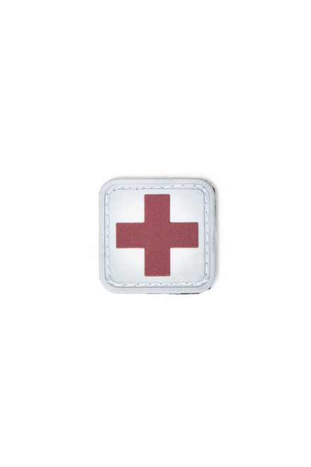 Medic Square Patch - PVC - Red Cross on White Background