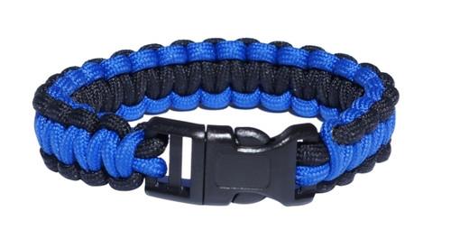 Paracord Survival Bracelet, Blue Line, Small