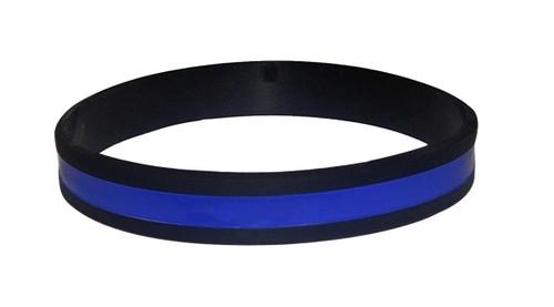 "PVC Wristband, Blue Line, Standard, 8"""